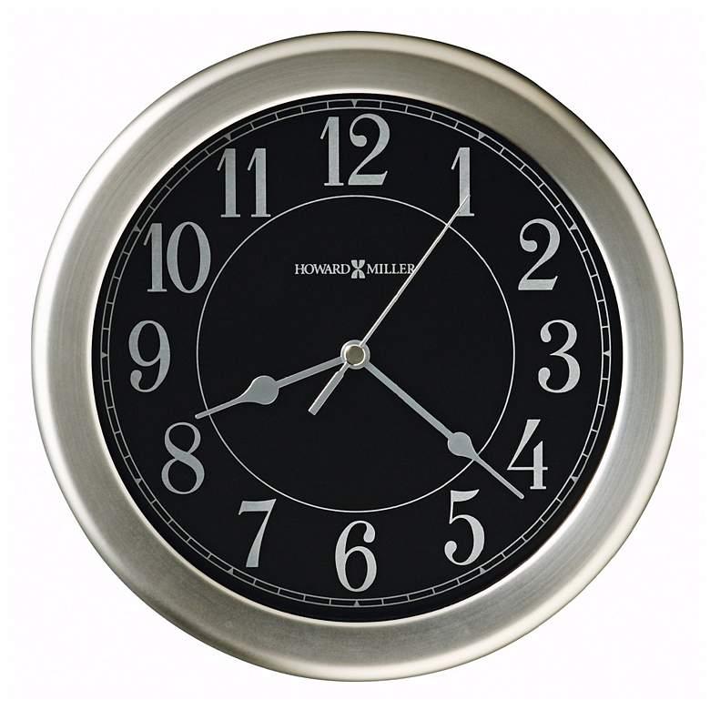 "Howard Miller Libra 8 1/2"" Black Dial Nickel Wall Clock"
