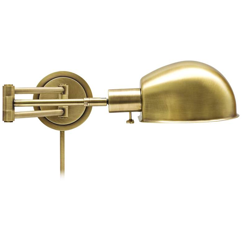 House of Troy Addison Antique Brass Swing Arm Wall Lamp