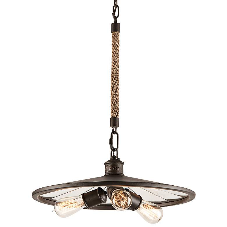 """Brooklyn 18"""" Wide Iron Pendant Chandelier with Rope Stem"""