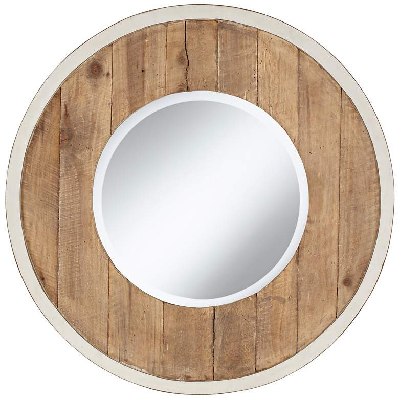 "Distressed White and Natural Wood 30"" Round Wall Mirror"