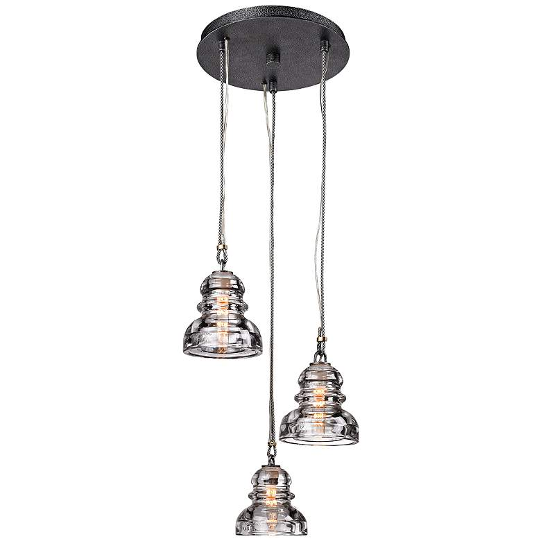 "Menlo Park 3-Light 13 3/4"" Wide Old Silver Pendant Light"