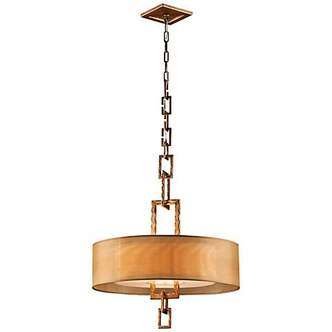 "Link Bronze Leaf 26""W 3-Light Hand-Forged Iron Chandelier"