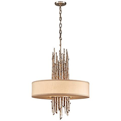 Adirondack Graphite and Silver Leaf Stick Chandelier
