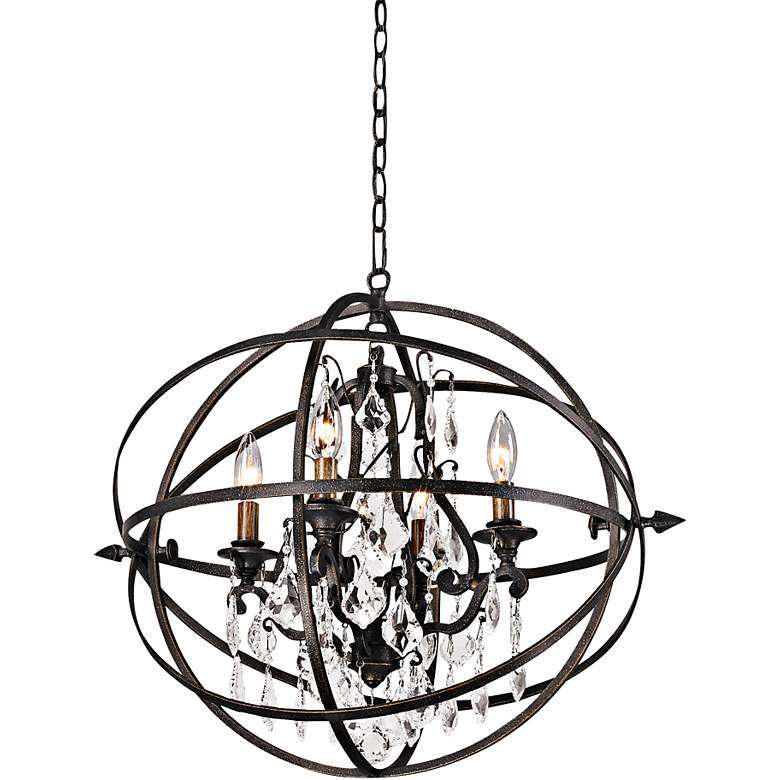 "Byron 21"" Hand-Worked Bronze And Crystal Chandelier"