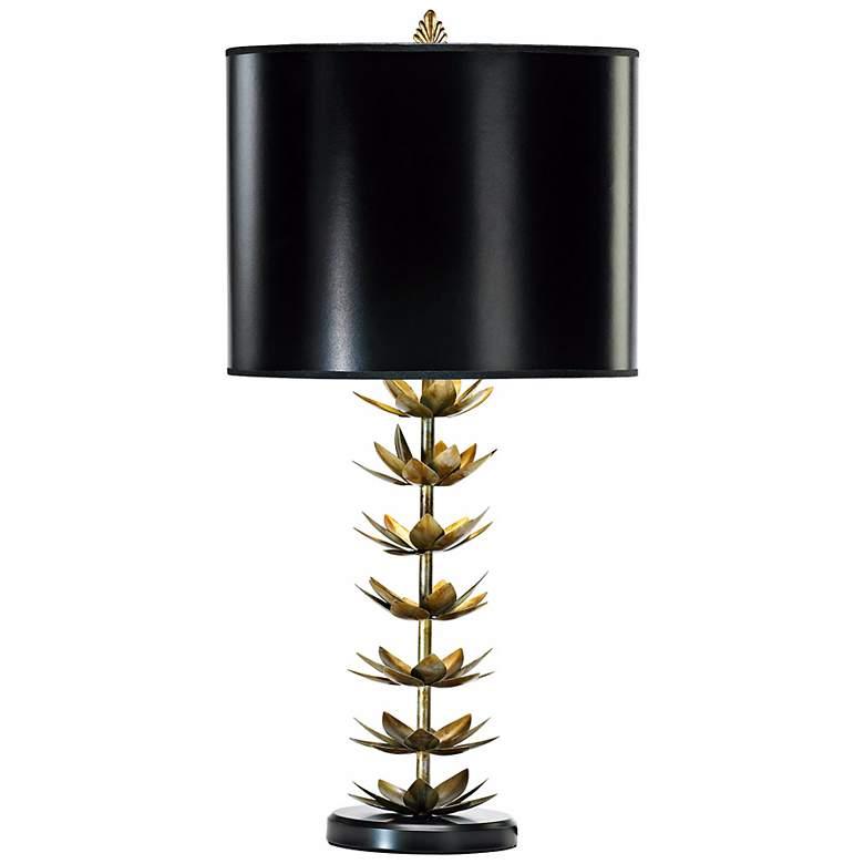 Iron and Wood Lotus Leaf Table Lamp