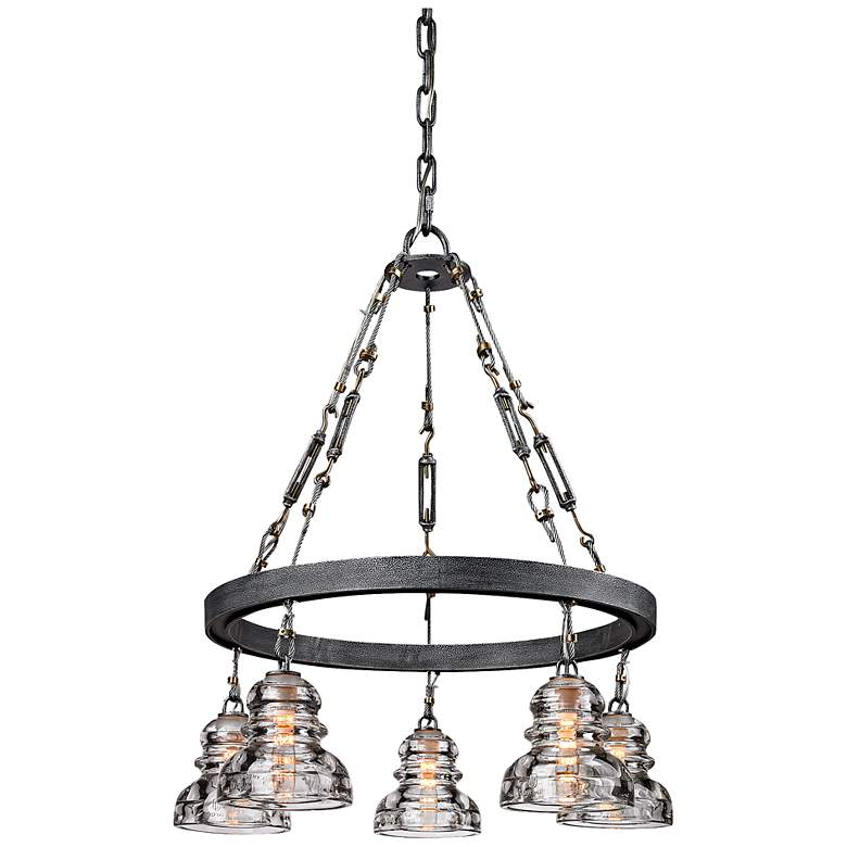 """Menlo Park 27 3/4"""" High Iron and Brass Chandelier"""