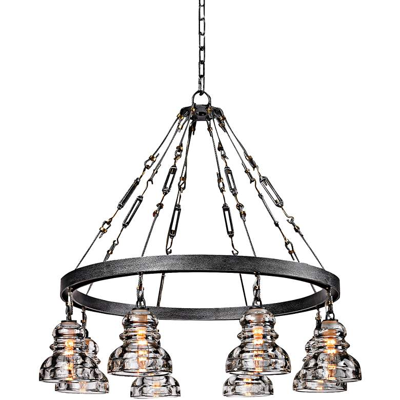 """Menlo Park 32 3/4"""" Wide Iron and Brass Chandelier"""