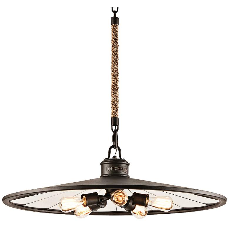 """Brooklyn 32"""" Wide Iron Pendant Chandelier with Rope"""