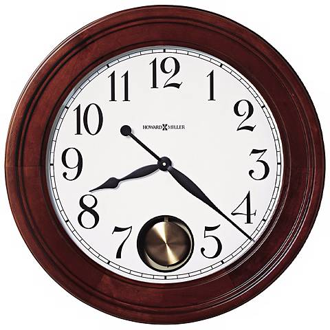 "Howard Miller Griffith 25"" Cherry Hardwood Wall Clock"