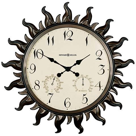 """Howard Miller 22 1/2"""" Sunburst Indoor/Outdoor Wall Clock"""