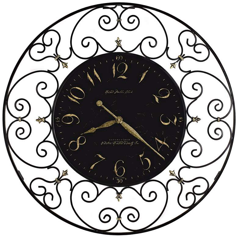 "Howard Miller Joline 36"" Black Iron Wall Clock"