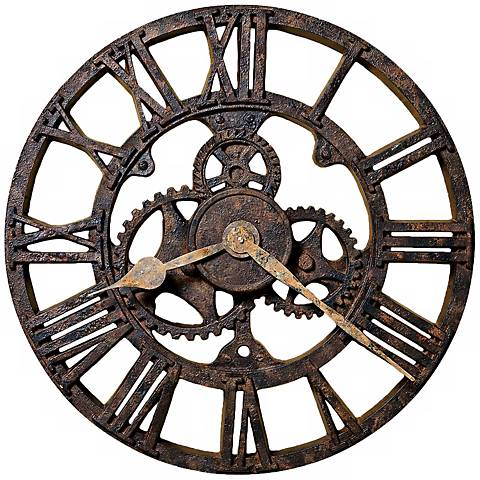 """Howard Miller Allentown 21 1/2"""" Round Rusted Wall Clock"""