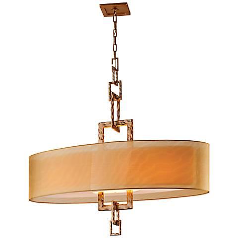 "Link Bronze Leaf  42"" Wide Hand-Forged Iron CFL Chandelier"
