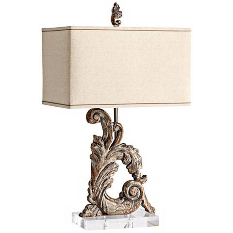 Posy Curved Scroll Wood Table Lamp