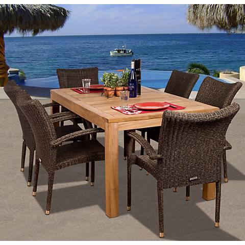 7-Piece Teak/Wicker Kelton Outdoor Dining Set