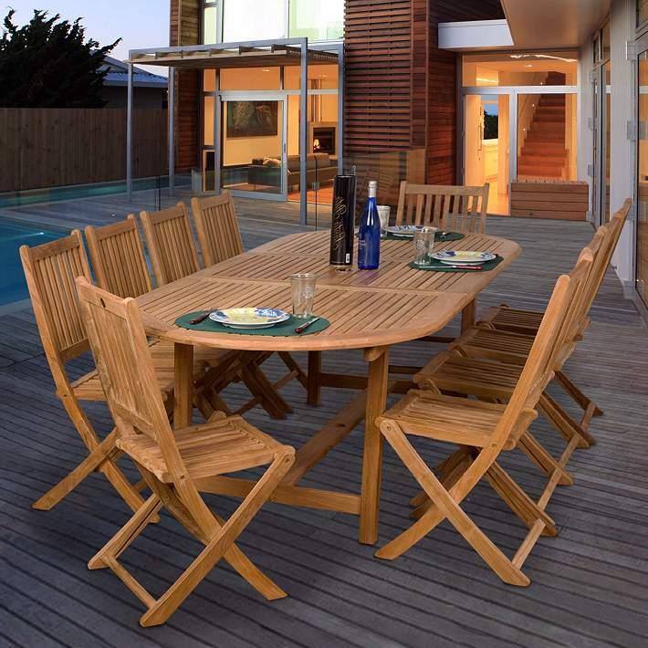 11 Piece Teak De Soto Outdoor Dining Set X6157 Lamps Plus