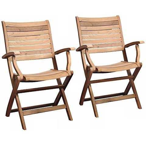 Set of 2 Teak Alameda Outdoor Folding Armchairs