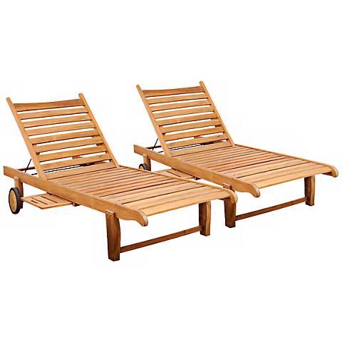 2-Piece Teak Marlo Outdoor Loungers Set