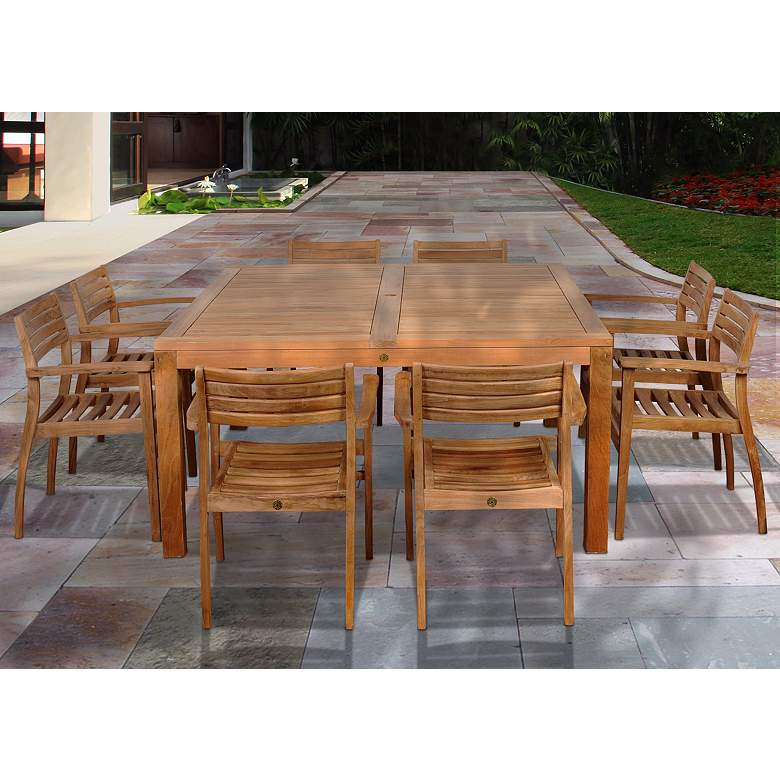 9-Piece Teak Sharona Outdoor Square Dining Set
