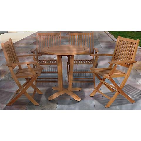 Lalinda Collection 5-Piece Teak Outdoor Dining Set