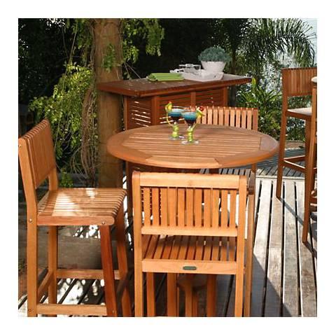 Ohara 4-Piece Eucalyptus Wood Outdoor Bar Set