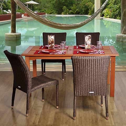 Lakewood Wicker Rectangular 5-Piece Patio Dining Set