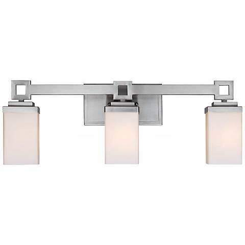 "Nelio 23 1/4"" Wide 3-Light Pewter Opal Glass Bath Light"