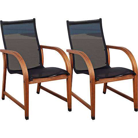 Arriba Eucalyptus Wood Outdoor Armchair Set of 4