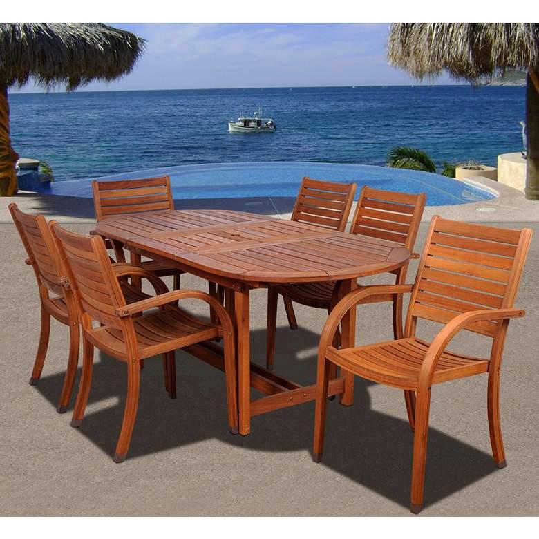 Cerrissa 7-Piece Eucalyptus Outdoor Oval Dining Set