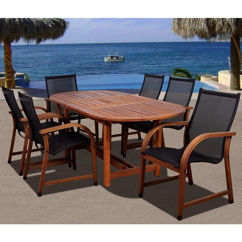 Arriba Eucalyptus Oval 7-Piece Outdoor Patio Dining Set