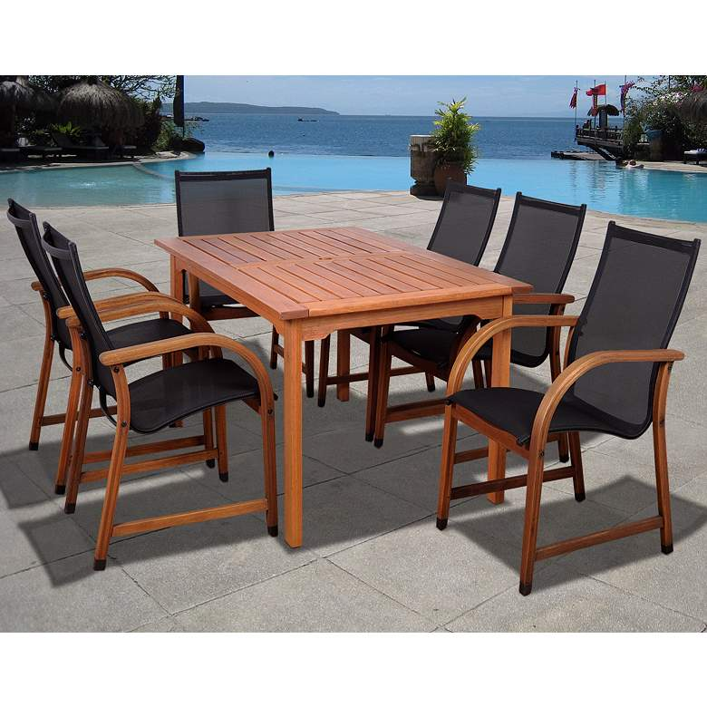 Arriba Rectangular 7-Piece Outdoor Patio Dining Set