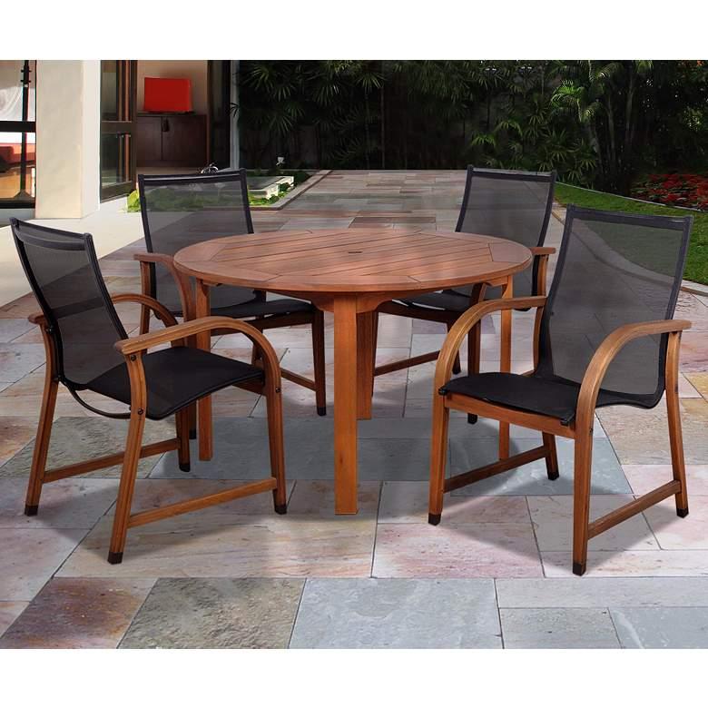 Arriba Eucalyptus Round 5-Piece Outdoor Patio Dining Set