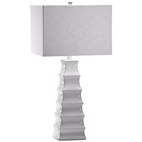 Emily Pyramid White Table Lamp