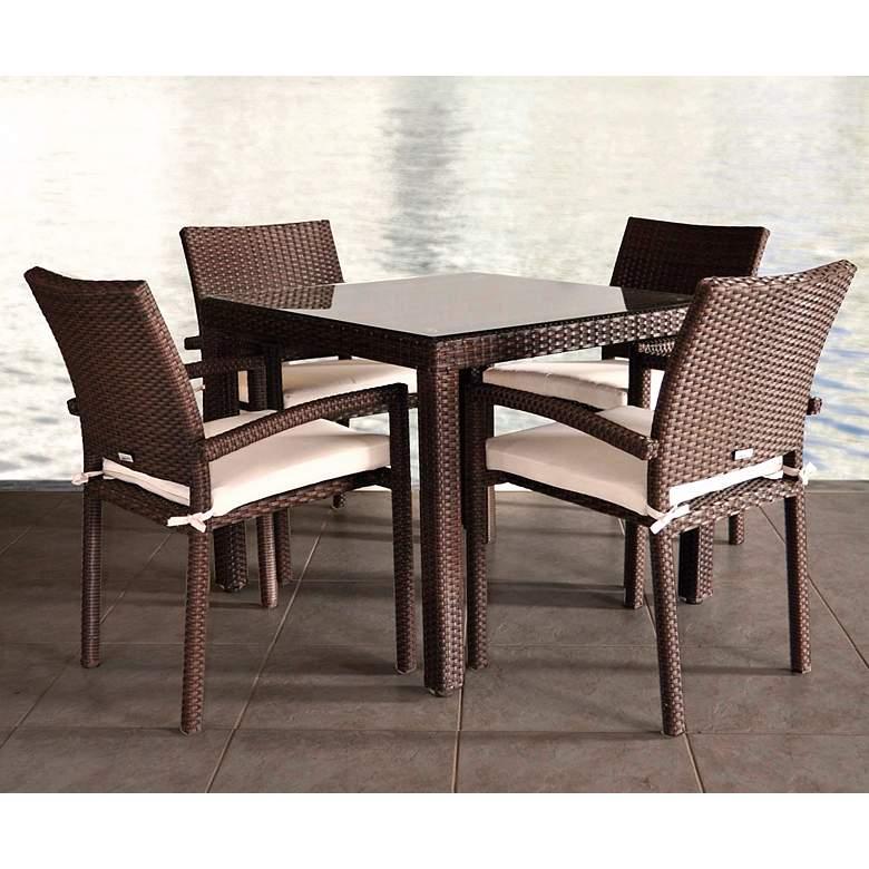 Vicento Brown Wicker 5-Piece Outdoor Patio Dining Set