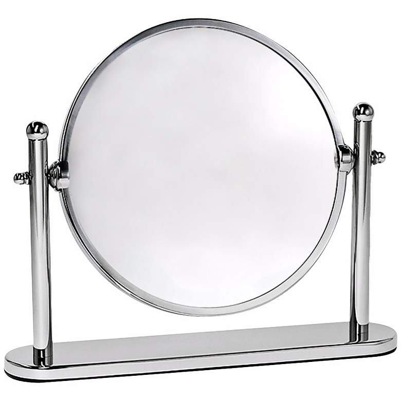 "Gatco Premier Chrome 10 1/2"" x 8 1/4"" Rotating Table Mirror"