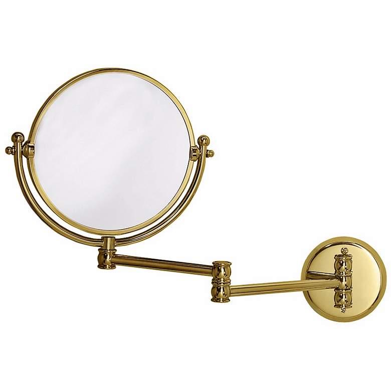 """Gatco Polished Brass 19 1/2"""" x 11 1/2"""" Swing Arm Wall Mirror"""