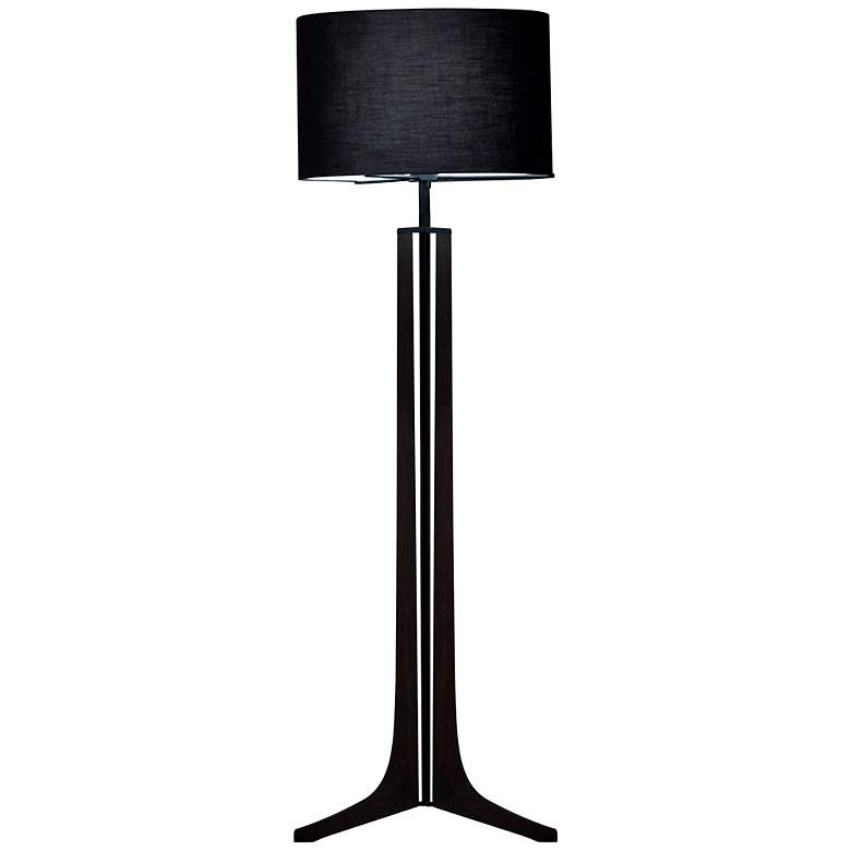 Cerno Forma Black Walnut LED Floor Lamp with Black Shade