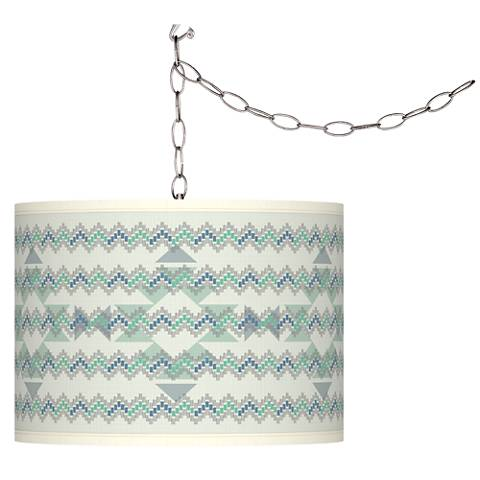 Triangular Stitch Giclee Glow Plug-In Swag Pendant