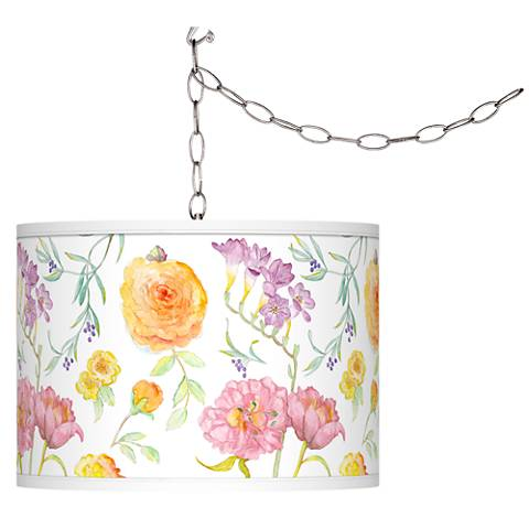 Spring Garden Giclee Glow Plug-In Swag Pendant