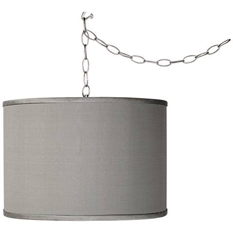 Swag Style Gray Faux Silk Shade Plug-In Chandelier