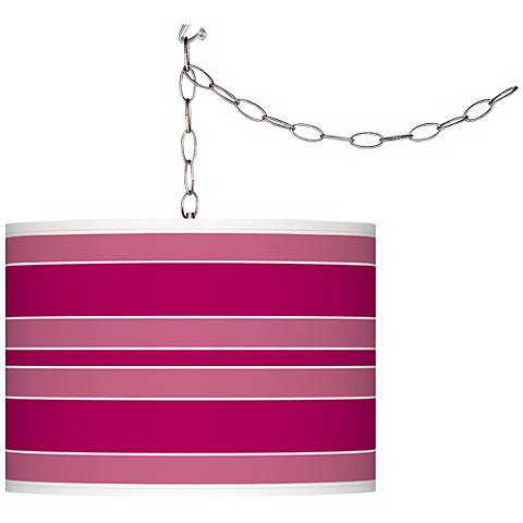 French Burgundy Bold Stripe Giclee Glow Plug-In Swag Pendant