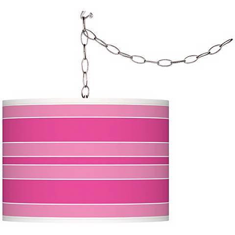 Fuchsia Bold Stripe Giclee Glow Plug-In Swag Pendant