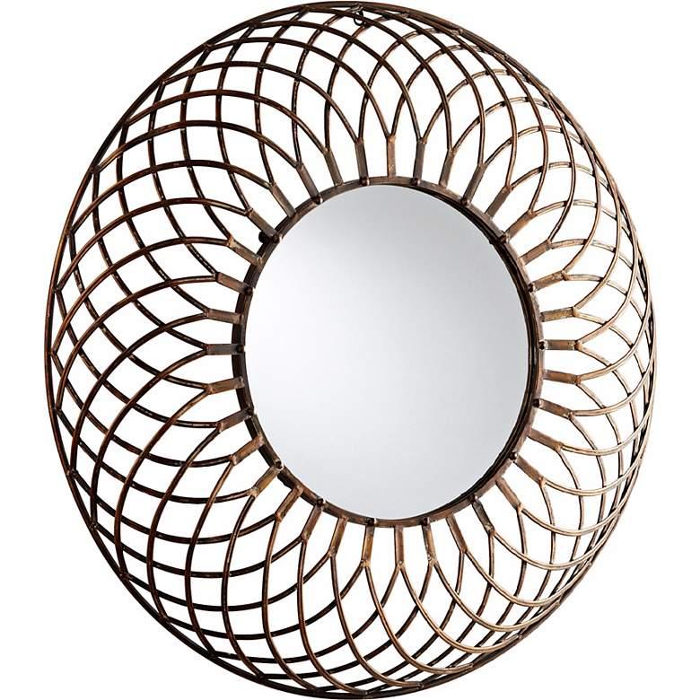 """Fairplex Bronze Webbed Iron 39"""" Round Wall Mirror"""