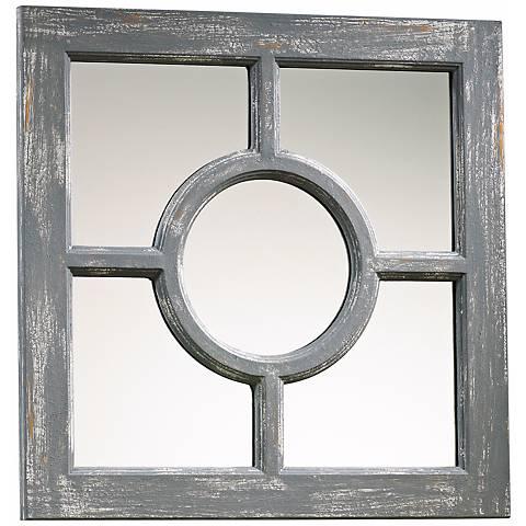 "Ashford Distressed Gray Wood 16 3/4"" Square Wall Mirror"