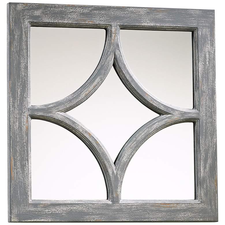 "Ashton Distressed Gray Wood 16 3/4"" Square Wall Mirror"