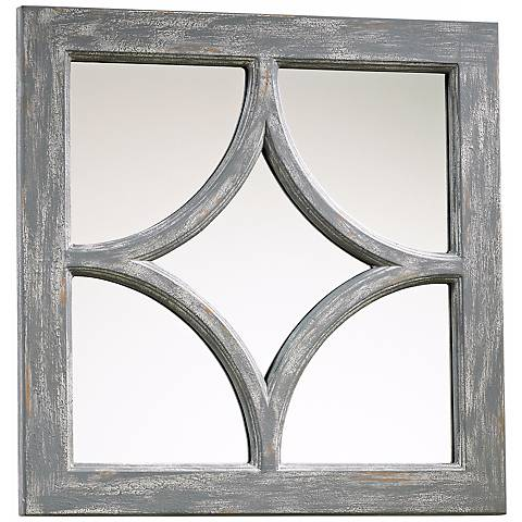 "Ashton Gray Wood 16 3/4"" Square Wall Mirror"