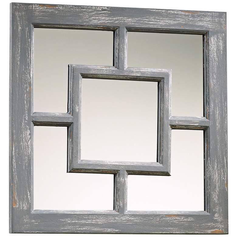 "Ashbury Distressed Gray 17"" Square Wall Mirror"