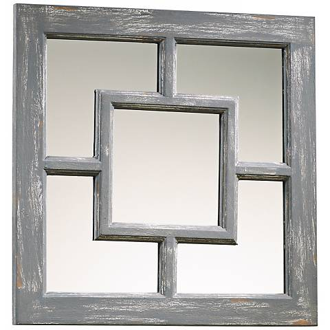 "Ashbury 17"" Square Distressed Gray Wall Mirror"