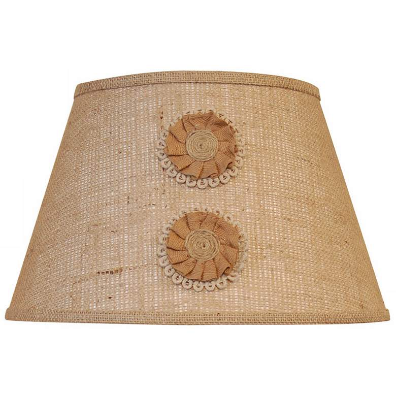 Natural Burlap with Floral Appliques Shade 10x16x10 (Spider)