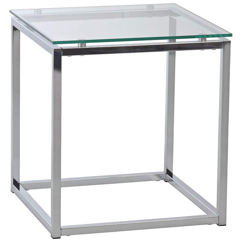 "Sandor 18"" Wide Clear Glass Modern Side Table"